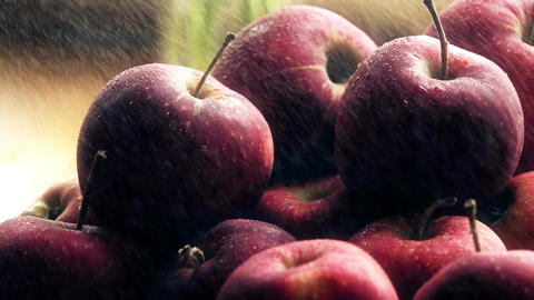 Spraying water over fresh ripe red apples on a wooden table Footage