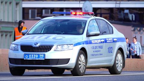 MOSCOW, RUSSIA - June 11, 2017. Russian road police Skoda Octavia patrol car Footage
