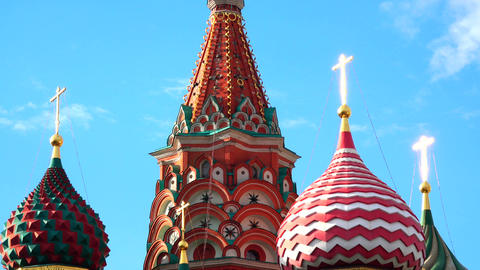 Details of St Basil Cathedral on the Red square in Moscow Russia Footage