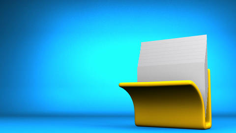 Yellow Folder And Documents On Blue Text Space CG動画