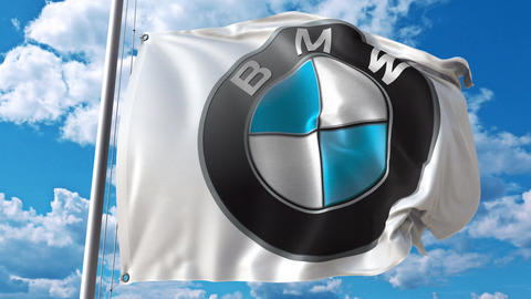 Waving flag with Bmw logo against moving clouds. 4K editorial animation Footage