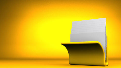 Yellow Folder And Documents On Yellow Text Space Animation