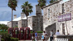 Bermuda Royal Naval Dockyard Terrace with stone houses and telephone boxes Archivo