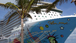 Bermuda Royal Naval Dockyard cruise vessel Norwegian Breakaway behind palm tree 画像