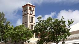 Bermuda capital city Hamilton clock tower of the parliament building Footage