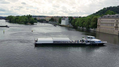 Pleasure boat on the Vltava river Image