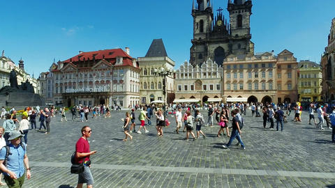 Tourists on Old Town Square, Tyn Church GIF