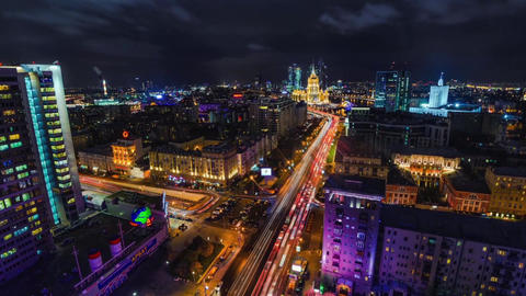 Night Hight View In Moscow, Timlapse On A Skyscraper Rooftops stock footage