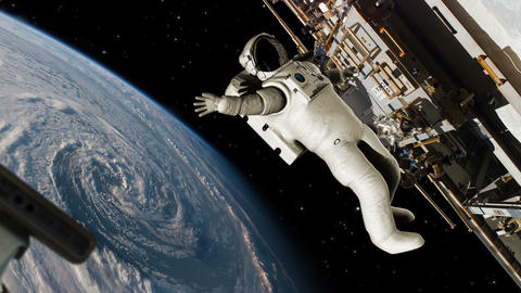 Astronaut Working On ISS Waving Moving Hurricane In The Background - 4K stock footage