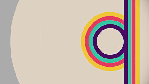 Abstract flat colorful lines flow circle animation Animation