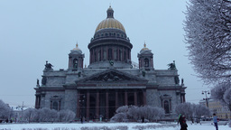 Famous orthodox basilica at snowy evening, natural light, winter season Footage