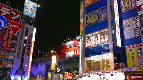 Neon Lights Billboards Signs Buildings Akihabara Tokyo Japan Asia Night Footage