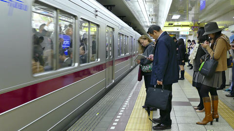Rush Hour People Commuters Traveling In Subway Train Station Tokyo Footage