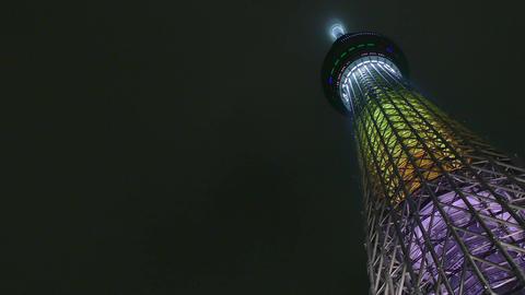 Skytree Tower Tokyo Japan Asia Japanese Asian Architecture Night Sky Footage