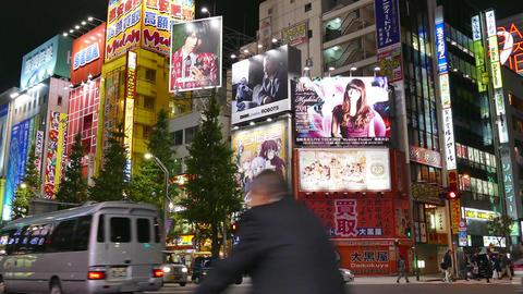Traffic Cars Street Night Lights Signs Akihabara Tokyo Japan Asia Footage