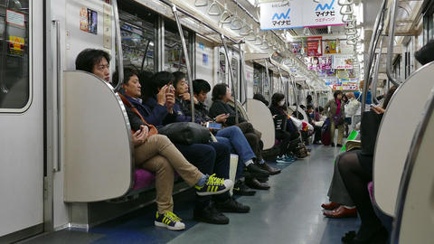 Traveling In Subway Underground Train People Commuting Tokyo japan Asia Live Action