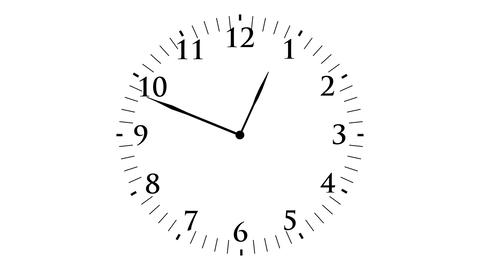 Animation, clock time with seconds, white background, 4K Footage