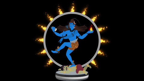 Lord Shiva the Destroyer Crashing Apasmara in a Ring of Fire Alpha Channel Image