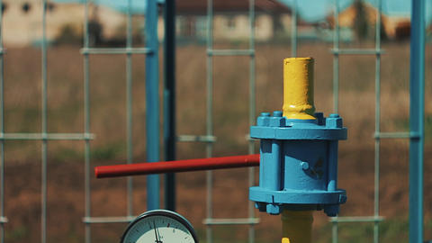 Gas storage and supply station. Pipelines for gas transportation. Stop valves Image