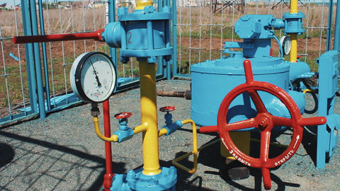 Gas pipeline with a manometer. Pumping station for pumping natural gas Footage
