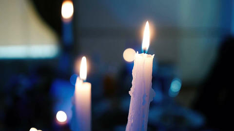 candles burning on the table Footage
