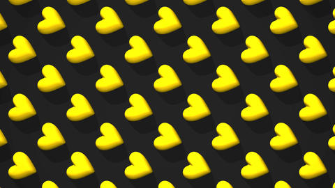 Yellow Hearts Abstract On Black Background CG動画