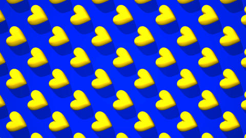 Yellow Hearts Abstract On Blue Background CG動画