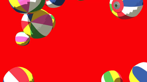 Japanese Paper Balloons On Red Background Animation