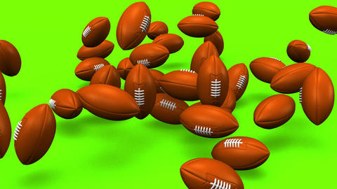 Bouncing Rugby Balls On Green Background Animation