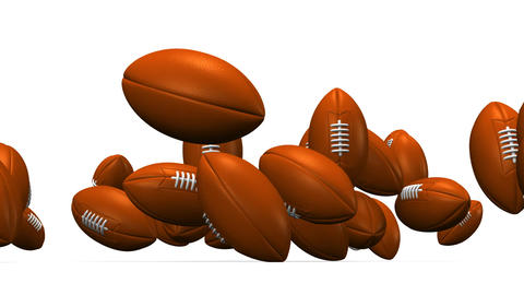 Bouncing Rugby Balls On White Background Animation