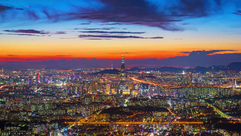 Timelapse of Seoul City ,South Korea.Zoom in Live Action