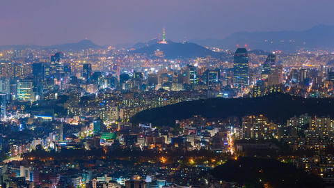 Zoom out Time lapse of Seoul City Skyline,South Korea Footage