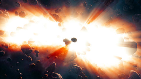 Asteroids coming close from deep space Animation