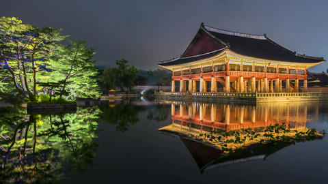 Time lapse of Gyeongbokgung Palace in Seoul City,South Korea Live Action