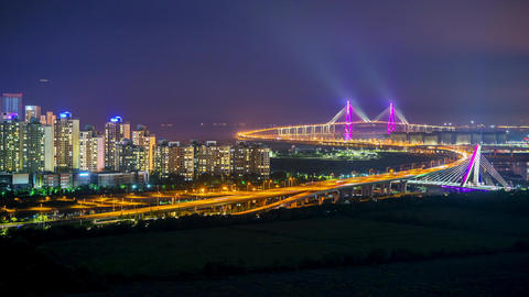 Time lapse of incheon bridge in South Korea Footage