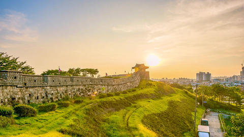 Timelapse of Hwaseong Fortress in Suwon, South Korea Footage