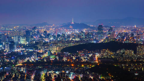 Time lapse of Seoul City Skyline,South Korea Footage