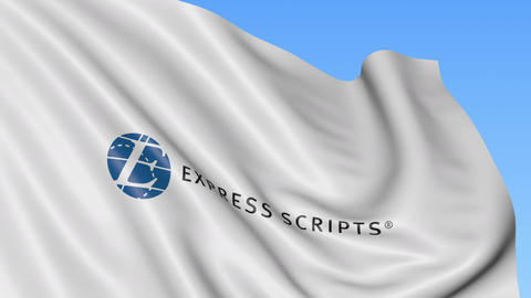 Waving flag with Express Scripts logo. Seamles loop 4K editorial animation Live-Action