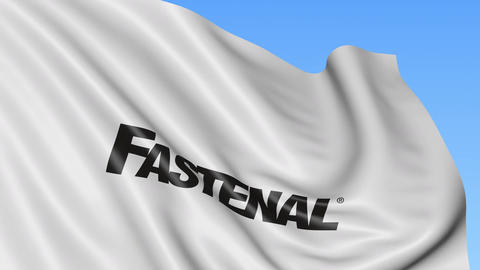 Waving flag with Fastenal logo. Seamles loop 4K editorial animation Footage