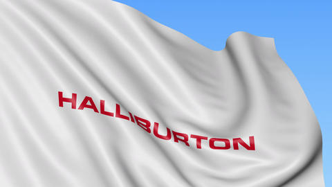 Waving flag with Halliburton logo. Seamles loop 4K editorial animation Footage