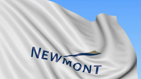 Waving flag with Newmont Mining Corporation logo. Seamles loop 4K editorial Live Action