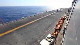 Av 8b harrier takeoff launch from flight deck Stock Video Footage