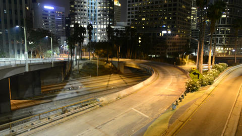 Downtown los angeles traffic light trails Footage