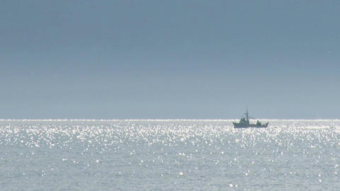 Boats on glistening bay Footage