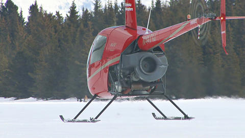 Hovering helicopter in alaska Footage