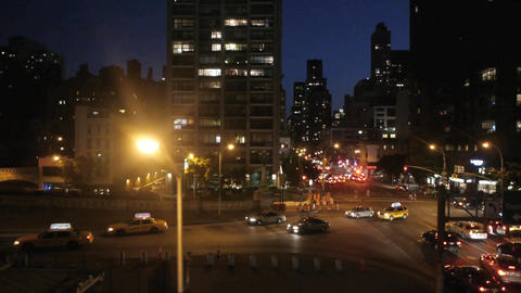 New york at night traffic aerial view tracking shot Footage