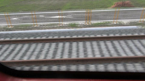Pov train tracks zooming by Footage