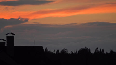 Silhouettes of summer forest trees and town rooftops against sunset sky Footage