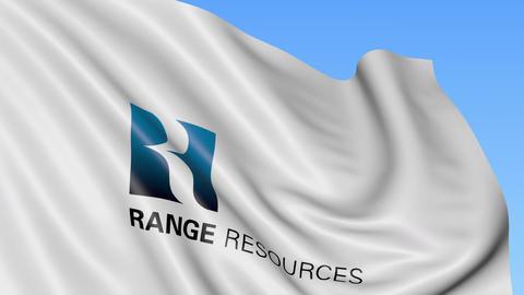 Waving flag with Range Resources logo. Seamles loop 4K editorial animation Footage