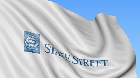 Waving flag with State Street Corporation logo. Seamles loop 4K editorial Live Action